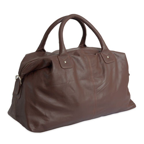 Wayfarer Genuine Leather Dark Chocolate Weekend Travel Bag (Size 55x36x20 Cm)