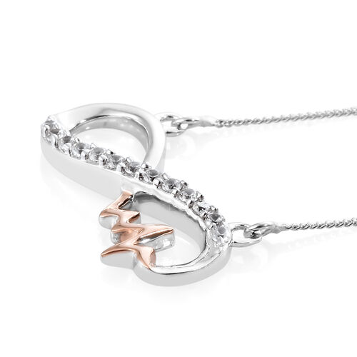 Natural Cambodian Zircon Silver Infinity Pendant With Chain (Size 18) in Platinum and Rose Gold Overlay
