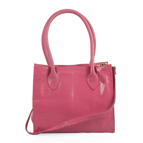 Premium Collection Genuine High Glossed Leather RFID Blocker Fuchsia Large Tote Bag (Size 31.5X26X12 Cm)