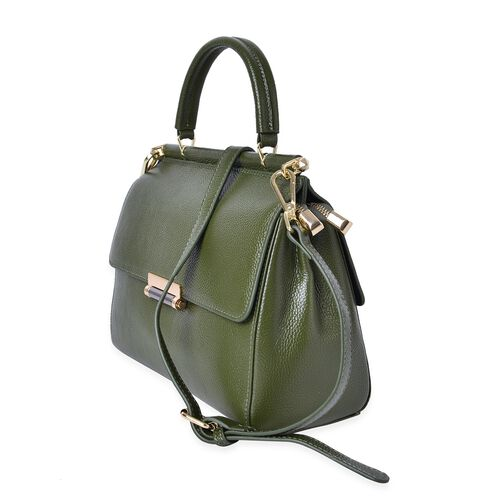 Richmond Genuine Leather Olive Green Colour Tote Bag with Adjustable and Removable Shoulder Strap (Size 27X21.5X11.5 Cm)