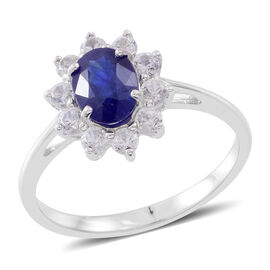 Duchess Inspired - 9K White Gold AAA Masoala Sapphire (Ovl 1.80 Ct), Natural White Cambodian Zircon Ring 3.500 Ct.