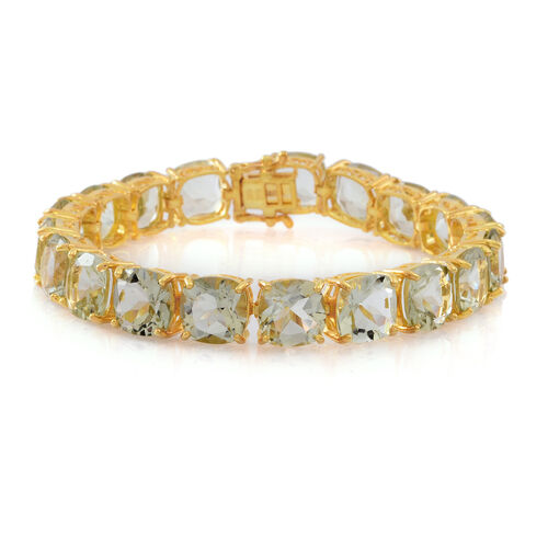 Green Amethyst (Cush) Bracelet (Size 8) in 14K Gold Overlay Sterling Silver 68.000 Ct.