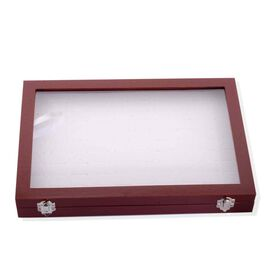 Amits Special Deal - Cherry Brown Velvet 100 Slot Ring/Earring Box (Size 34.5x23.3x3 Cm)