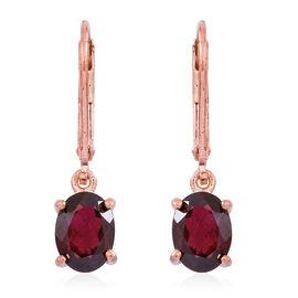 Orrisa Rhodolite Garnet (Ovl) Lever Back Earrings in Rose Gold Overlay Sterling Silver 3.000 Ct.