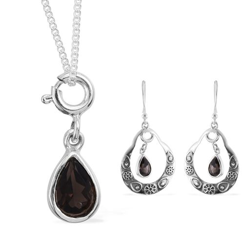 Brazilian Smoky Quartz (Pear) Hook Earrings and Chain in Sterling Silver.Silver Wt 5.00 Gms