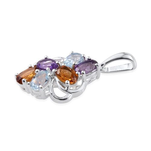 Sky Blue Topaz (Ovl), Amethyst and Citrine Pendant in Sterling Silver 2.750 Ct.