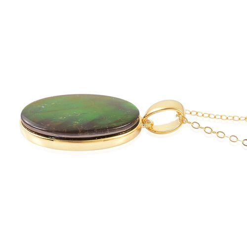 AA Canadian Ammolite (Ovl 20x15mm) Solitaire Pendant With Chain in Yellow Gold Overlay Sterling Silver 8.000 Ct.
