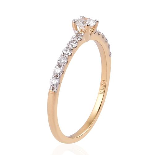 ILIANA 18K Yellow Gold 0.50 Carat IGI Certified Round Diamond SI F-H Solitaire Engagement Ring.