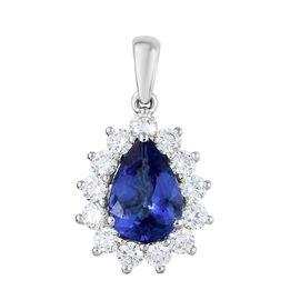 RHAPSODY 950 Platinum AAAA Tanzanite (Pear 1.58 Ct), Diamond Pendant 2.300 Ct.