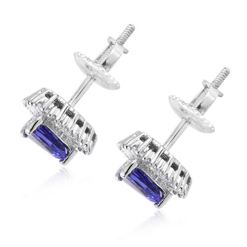 RHAPSODY 950 Platinum 1.50 Ct AAAA Tanzanite Stud Earrings (with Screw Back) with  Diamond (VS/E-F)