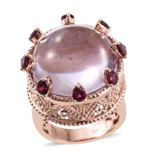 Rose De France Amethyst (Rnd 24.00 Ct), Rhodolite Garnet Ring in Rose Gold Overlay Sterling Silver 25.500 Ct. Silver wt. 10.50 Gms.