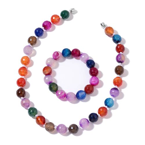 Rare Size Multi Colour Agate Ball Beads Necklace (Size 18) with Magnetic Clasp Lock in Silver Tone and Stretchable Bracelet (Size 6.5 to 8.5) 724.000 Ct