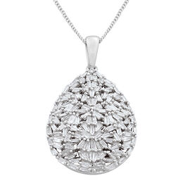 Designer Inspired Fire Cracker Diamond (Bgt) Tear Drop Pendant with Chain in Platinum Overlay Sterling Silver 1.000 Ct. Silver wt. 5.00 Gms. Number of Diamonds 122