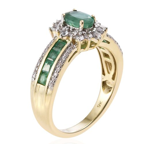 Limited Edition- Designer Inspired- 9K Yellow Gold Kagem Zambian Emerald (Ovl 1.45 Ct), Natural Cambodian Zircon Ring 2.000 Ct. Gold Wt. 5.05 Gms Gold Wt 5.00 Grams