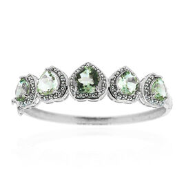 Green Amethyst (Hrt 4.75 Ct) Bangle in Rhodium Plated Sterling Silver (Size 7.5) 20.000 Ct.Silver Wt 22.00 Gms