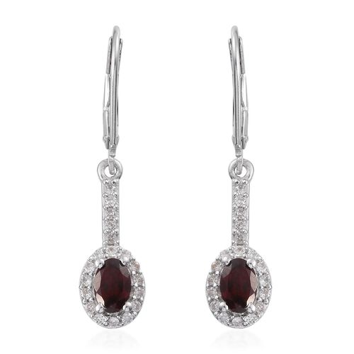 Arizona Anthill Garnet (Ovl), Natural Cambodian Zircon Lever Back Earrings in Platinum Overlay Sterling Silver 1.370 Ct.