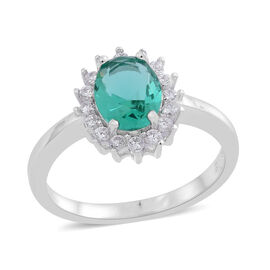 ELANZA AAA Simulated Paraiba Tourmaline (Ovl), Simulated White Diamond Floral Ring in Rhodium Plated Sterling Silver