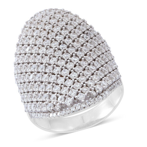 Limited Edition- ELANZA AAA Simulated White Diamond (Rnd) Cluster Ring in Rhodium Plated Sterling Silver