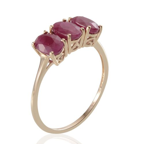 9K Y Gold Burmese Ruby (Ovl) Trilogy Ring 3.000 Ct.