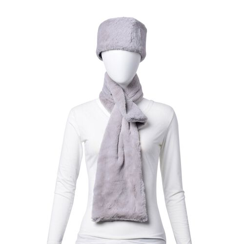Set of 2 - Grey Colour Headband (Size 45x10 Cm) and Scarf (Size 90x15 Cm)