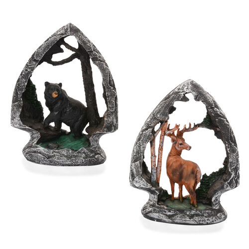 Set of 2 - Home Decor Brown Deer and Black Bear with Resin