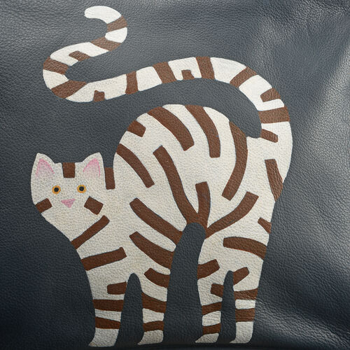Genuine Leather Charcoal, White and Multi Colour Hand Painted Cat Design Shoulder Bag with Adjustable Shoulder Strap (Size 30X20.5X8 Cm)