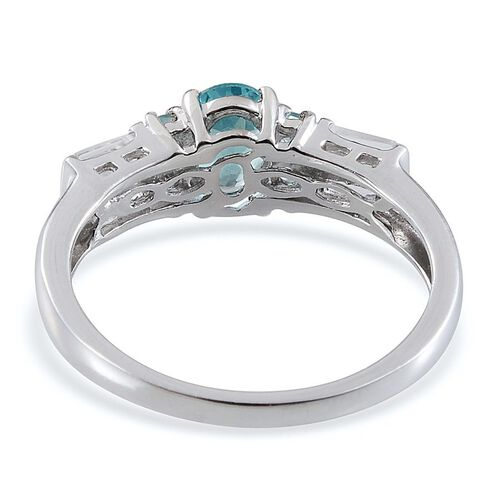 AA Paraibe Apatite (Ovl 1.25 Ct), White Topaz Ring in Platinum Overlay Sterling Silver 2.000 Ct.