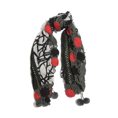 Red, Black and Grey Colour Winter Scarf with Fringes (Size 175x60 Cm)
