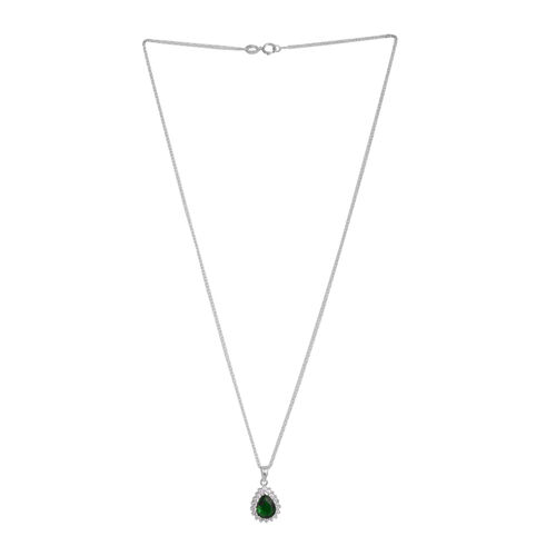 Close Out Deal ELANZA AAA Simulated Emerald (Pear), Simulated Diamond Drop Pendant With Chain in Rhodium Plated Sterling Silver