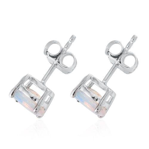 Ethiopian Welo Opal 1 Carat Silver Stud Earrings in Platinum Overlay