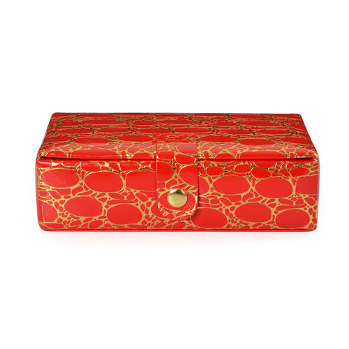 Red Croc Skin Pattern Jewellery Box with Mirror Inside (Size 5.4x3x1.3)