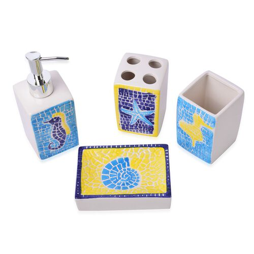 White, Yellow and Blue Colour Sea Aniamal Pattern 1 Toothbrush Holder (Size 10x7 Cm), 1 Tumbler (Size 10x7 Cm), 1 Soap Dish (Size 13x9 Cm) and 1 Lotion Dispenser (Size 18x6 Cm)