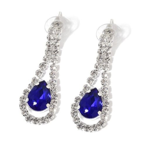 Simulated Tanzanite and White Austrian Crystal Necklace (Size 15 with 4 inch Extender) and Earrings (with Push Back) in Silver Tone