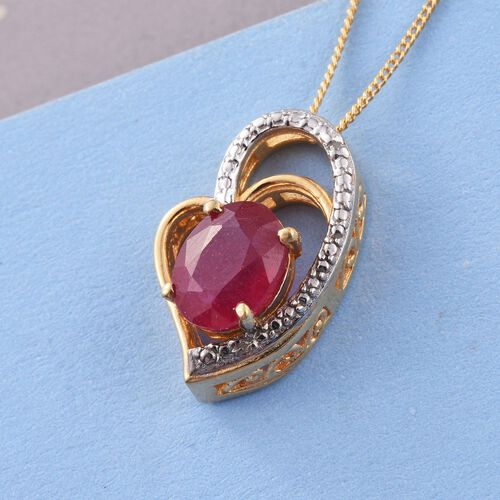 African Ruby (Ovl), Diamond Pendant with Chain (Size 18) in 14K Gold Overlay Sterling Silver 2.500 Ct.