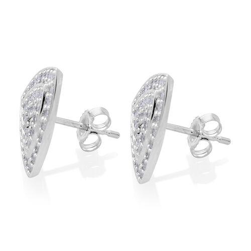9K White Gold SGL Certified Diamond (Trl) (I3 G-H) Stud Earrings (with Push Back) 1.000 Ct.