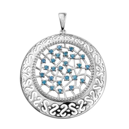 Signity Pariaba Topaz (Rnd) Pendant in ION Plated Platinum Bond 1.000 Ct.