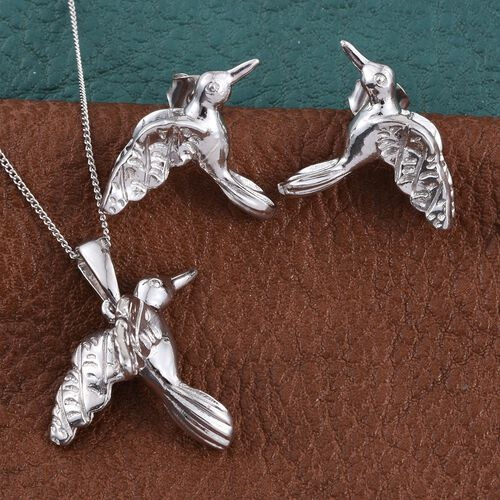 Set of Humming Bird Stud Earrings and Pendant with Chain in Platinum Overlay Sterling Silver 9.15 Gms.