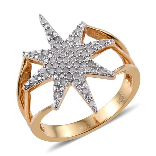 Diamond Star Silver Ring 0.33 Carat in 14K Gold Overlay.