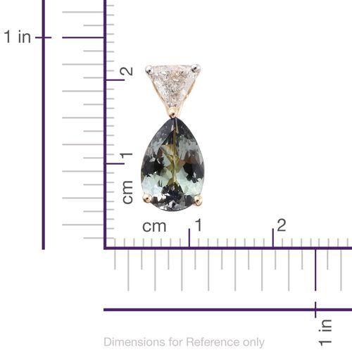 14K Y Gold Peacock Tanzanite (Pear 1.30 Ct), Diamond (I2-I3/G-H) Pendant 1.500 Ct.