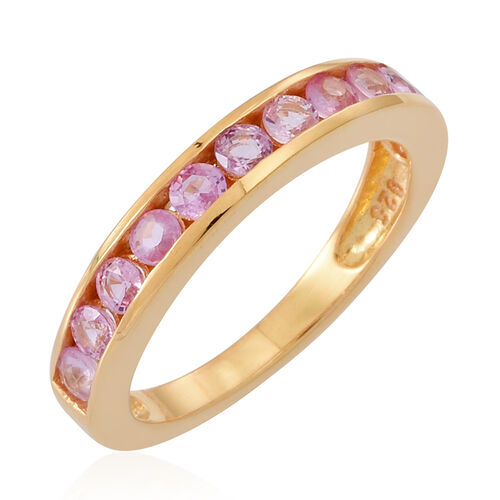 Pink Sapphire (Rnd) Half Eternity Band Ring in 14K Gold Overlay Sterling Silver 1.000 Ct.