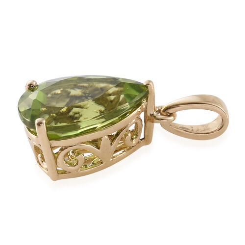 9K Yellow Gold 2.75 Ct AAA Hebei Peridot Pear Solitaire Pendant
