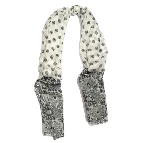 100% Mulberry Silk Floral Pattern Grey and White Colour Scarf (Size 175X110 Cm)