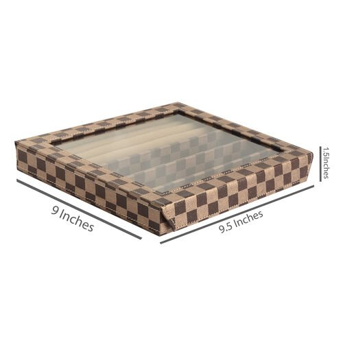 Hand Crafted - Eco Leatherette Chocolate Colour Checks Pattern Ring and Bracelet Storage Box (Size 24x22x4 Cm)