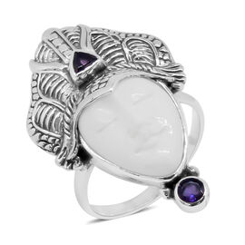 Princess Bali Collection OX Bone Carved Face, Rhodolite Garnet and Amethyst Ring in Sterling Silver 5.530 Ct., Silver wt 6.34 Gms.