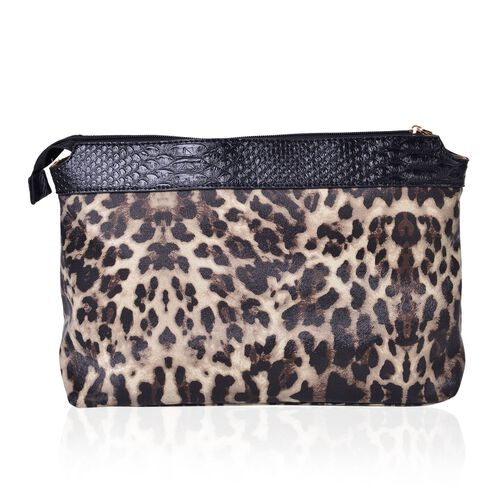Set of 2 - Black and Chocolate Colour Snake Embossed Handbag (Size 38X26X13 Cm) and Leopard Pattern Pouch (Size 32.5X23.5X12.5 Cm)