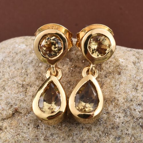 Citrine 1.25 Carat Silver Earrings (with Push Back) in 14K Gold Overlay