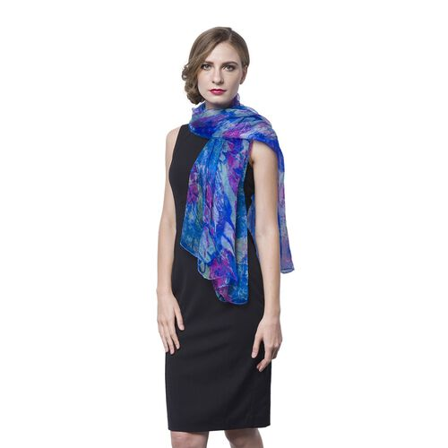 40% Mulberry Silk Blue, Pink and Multi Colour Abstract Pattern Scarf (Size 170X105 Cm)