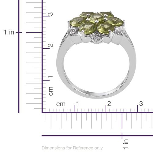 AA Hebei Peridot (Rnd), Natural Cambodian Zircon Floral Ring in Platinum Overlay Sterling Silver 3.250 Ct.