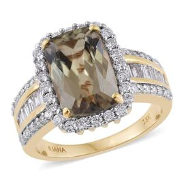 Iliana Diaspore (4.50 Ct) and Diamond 18K Y Gold Ring  5.500  Ct.