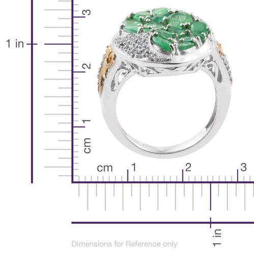 Kagem Zambian Emerald (Ovl), Natural Cambodian Zircon Ring in Platinum and Yellow Gold Overlay Sterling Silver 4.000 Ct.